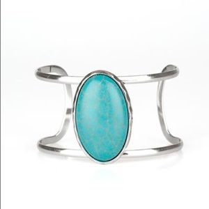Turquoise Stone Silver Bracelet/Cuff